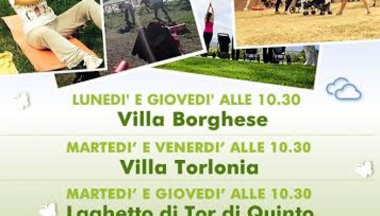 Ginnastica per mamme a Villa Borghese e Villa Torlonia