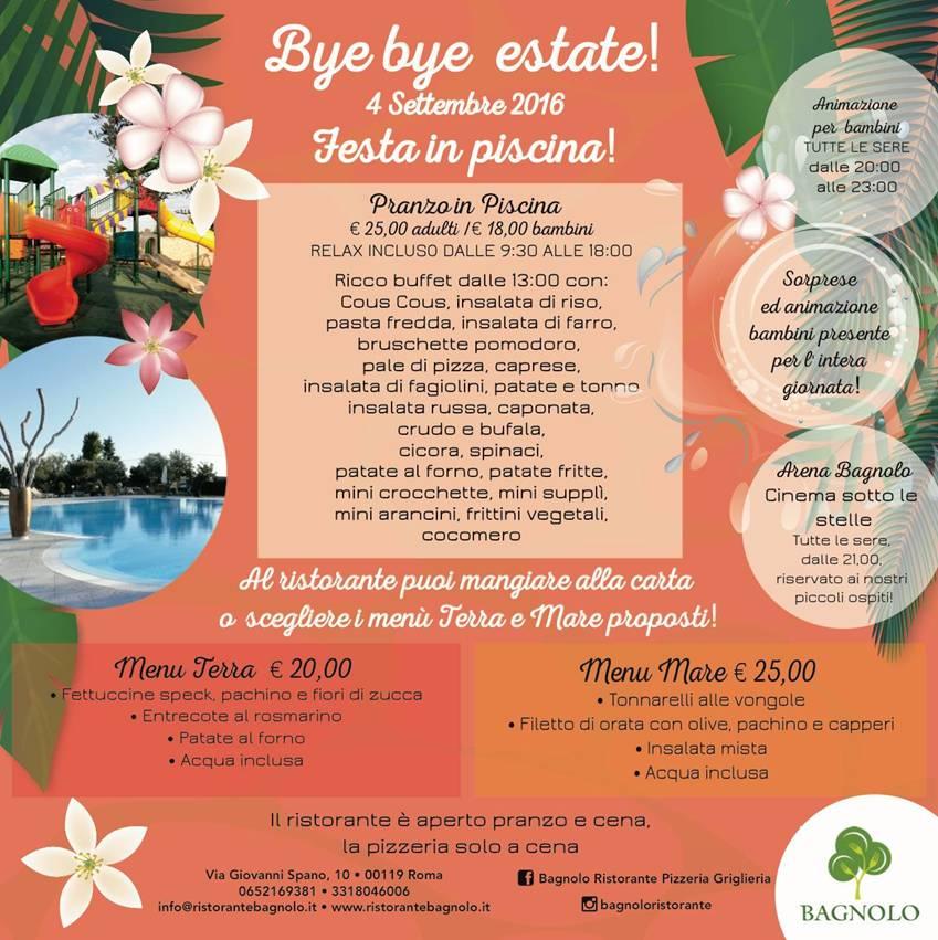 Bye bye estate festa in piscina al ristorante bagnolo - Piscina bagnolo ...